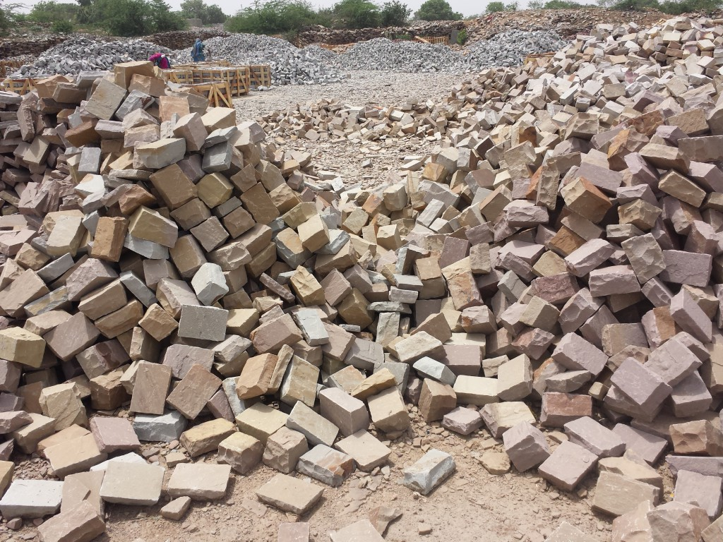 Pile of cobbles at a Budhpura yard