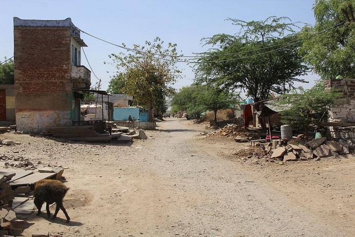 A dusty lane between buildings and trees, Budhpura, Rajasthan.